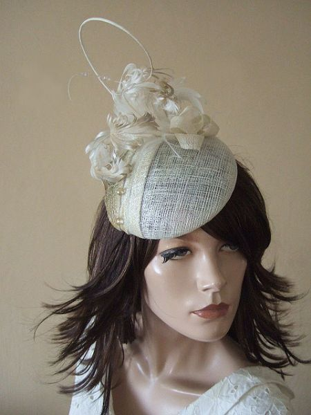 Ivory Gold Curled Goose Nagoire Feathers Swarovski Crystals Headpiece Fascinator Bridal